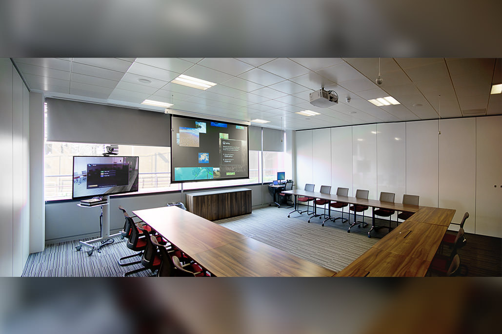 Divisible Meeting Room with Polycom Video Conferencing, Draper Projection Screen and NEC Projector
