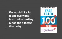 Cinos ranked in Sunday Times Virgin Atlantic Fast Track 100
